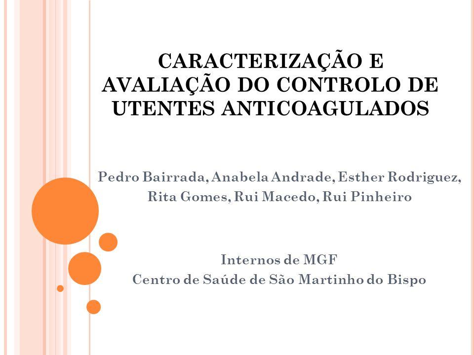 CARACTERIZAÇÃO E AVALIAÇÃO DO CONTROLO DE UTENTES ANTICOAGULADOS Pedro Bairrada, Anabela Andrade, Esther Rodriguez, Rita Gomes, Rui Macedo, Rui Pinhei