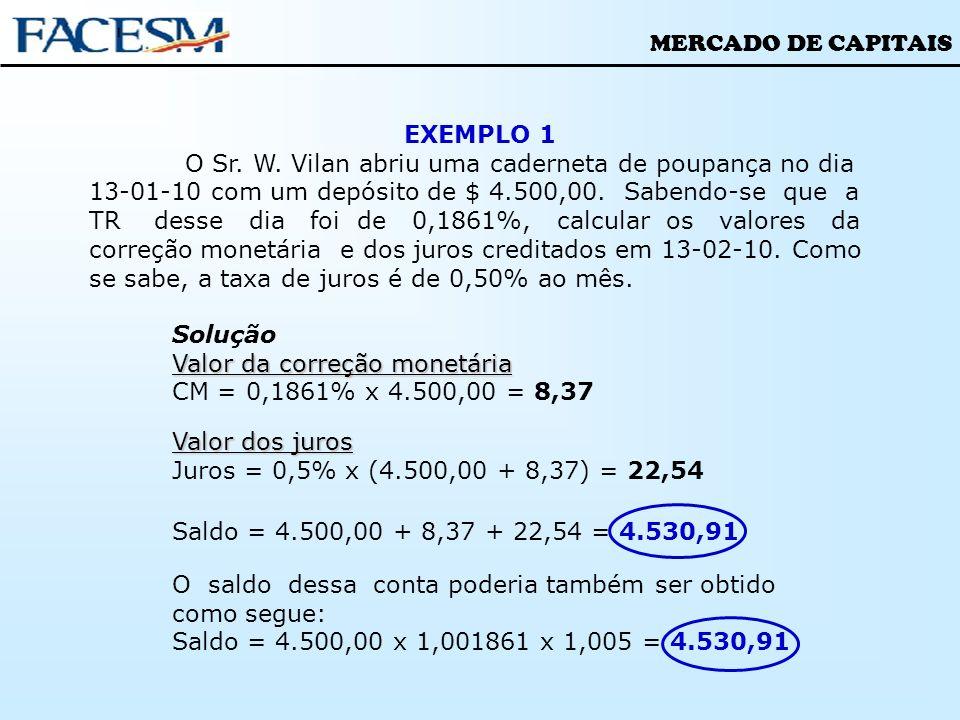 MERCADO DE CAPITAIS EXEMPLO 1 O Sr. W. Vilan abriu uma caderneta de poupança no dia 13-01-10 com um depósito de $ 4.500,00. Sabendo-se que a TR desse