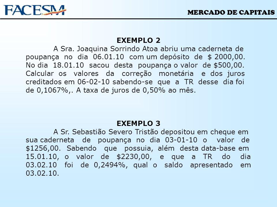 MERCADO DE CAPITAIS EXEMPLO 2 A Sra. Joaquina Sorrindo Atoa abriu uma caderneta de poupança no dia 06.01.10 com um depósito de $ 2000,00. No dia 18.01