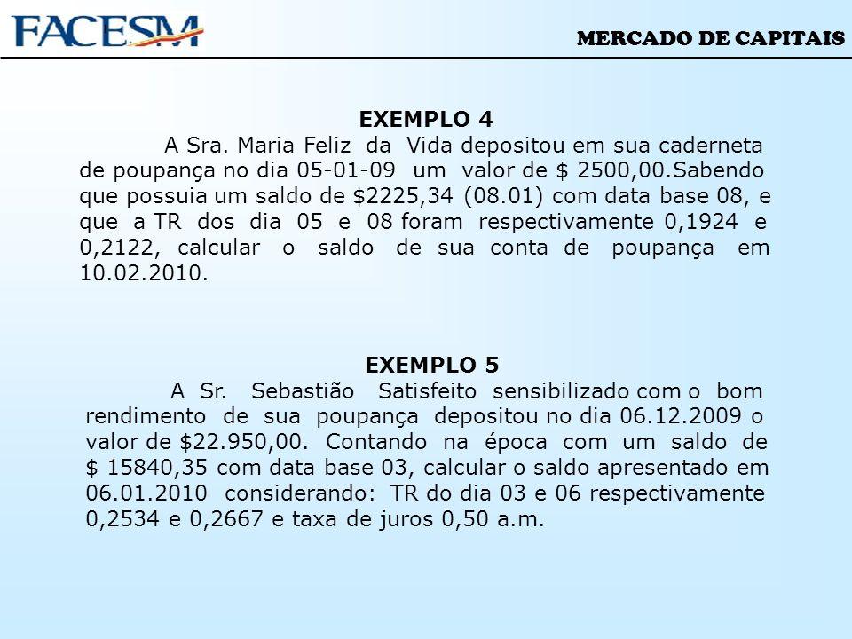MERCADO DE CAPITAIS EXEMPLO 4 A Sra. Maria Feliz da Vida depositou em sua caderneta de poupança no dia 05-01-09 um valor de $ 2500,00.Sabendo que poss