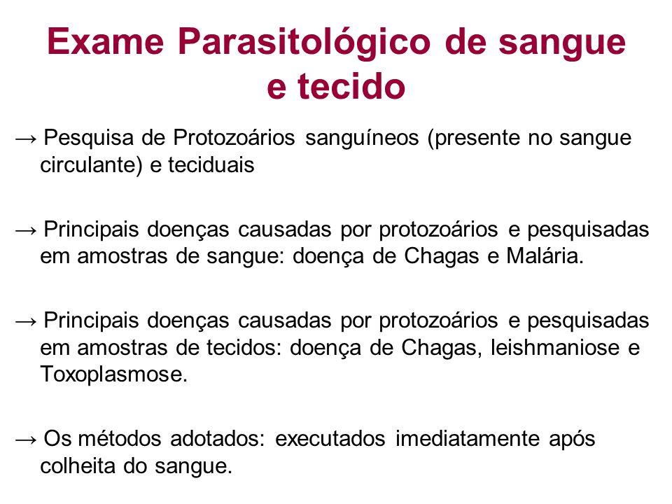 Exame Parasitológico de sangue e tecido Pesquisa de Protozoários sanguíneos (presente no sangue circulante) e teciduais Principais doenças causadas po