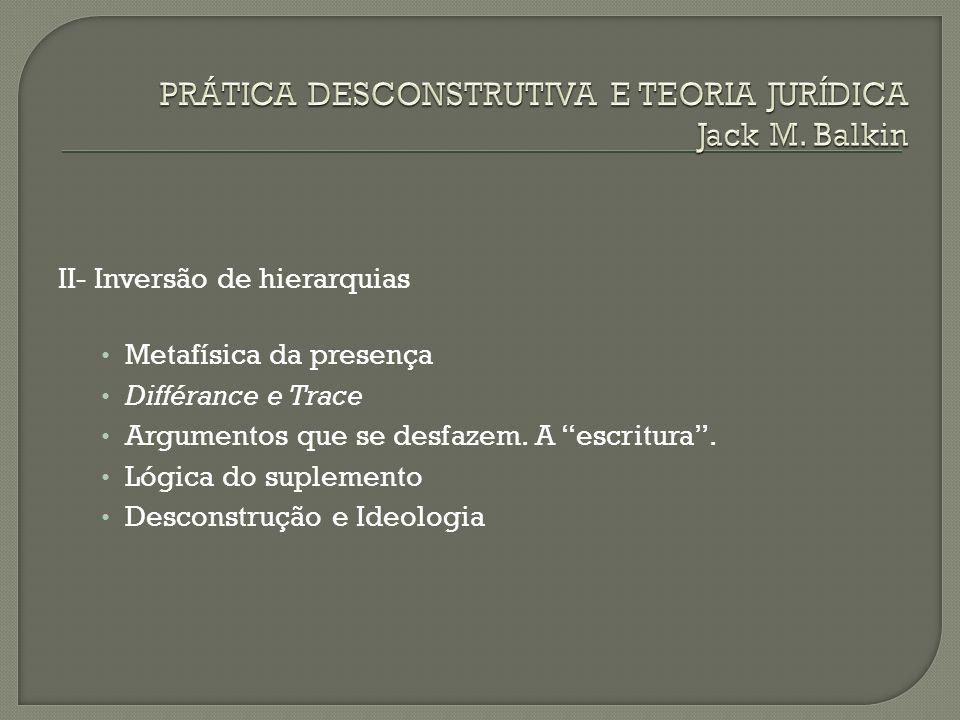II- Inversão de hierarquias Metafísica da presença Différance e Trace Argumentos que se desfazem. A escritura. Lógica do suplemento Desconstrução e Id