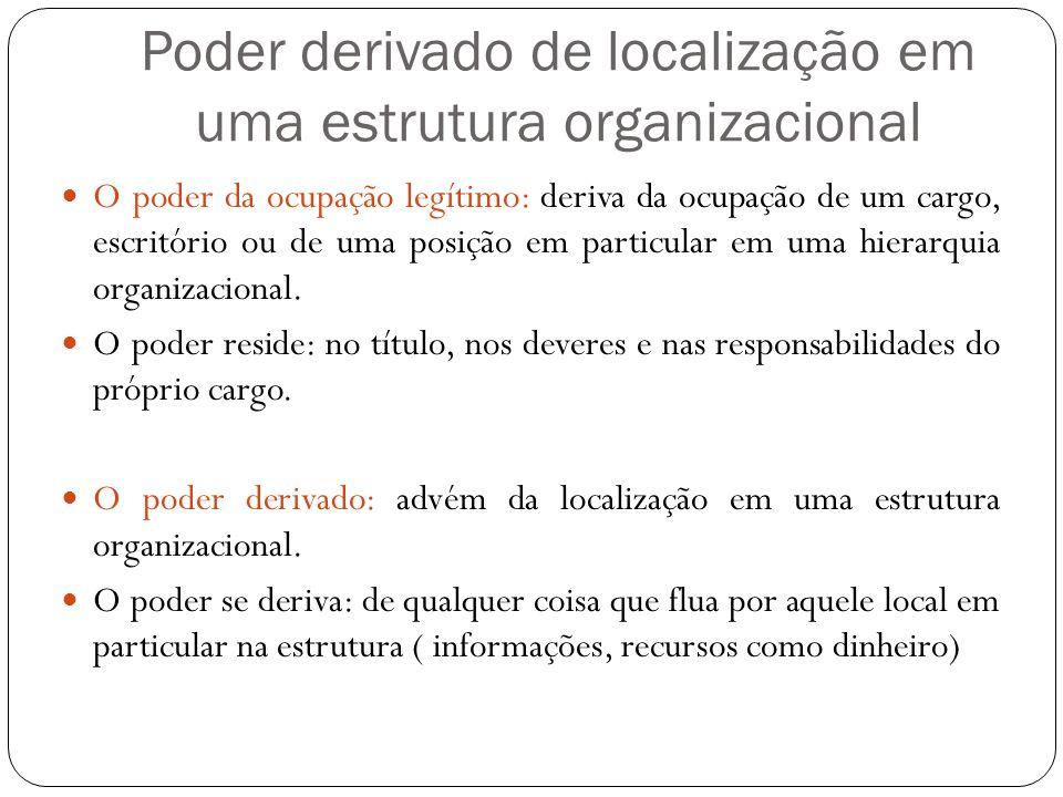 Poder derivado de localização em uma estrutura organizacional O poder da ocupação legítimo: deriva da ocupação de um cargo, escritório ou de uma posiç