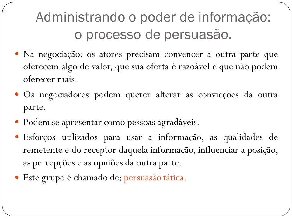 Administrando o poder de informação: o processo de persuasão. Na negociação: os atores precisam convencer a outra parte que oferecem algo de valor, qu