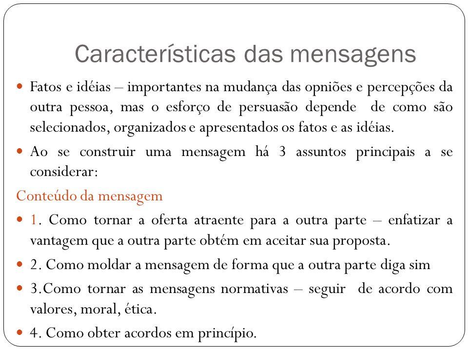 Características das mensagens Fatos e idéias – importantes na mudança das opniões e percepções da outra pessoa, mas o esforço de persuasão depende de