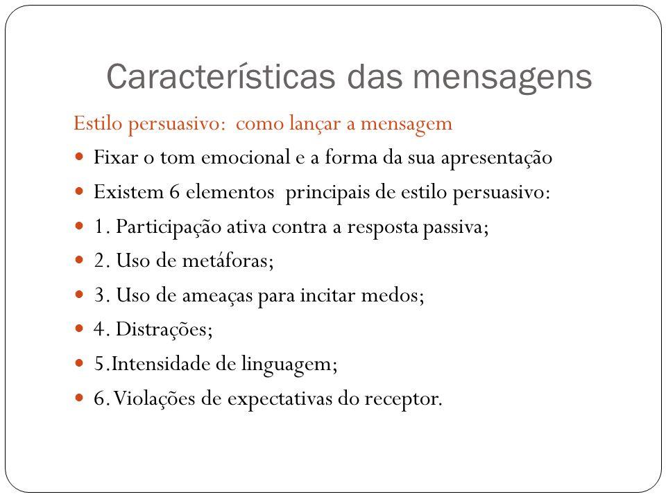 Estilo persuasivo: como lançar a mensagem Fixar o tom emocional e a forma da sua apresentação Existem 6 elementos principais de estilo persuasivo: 1.