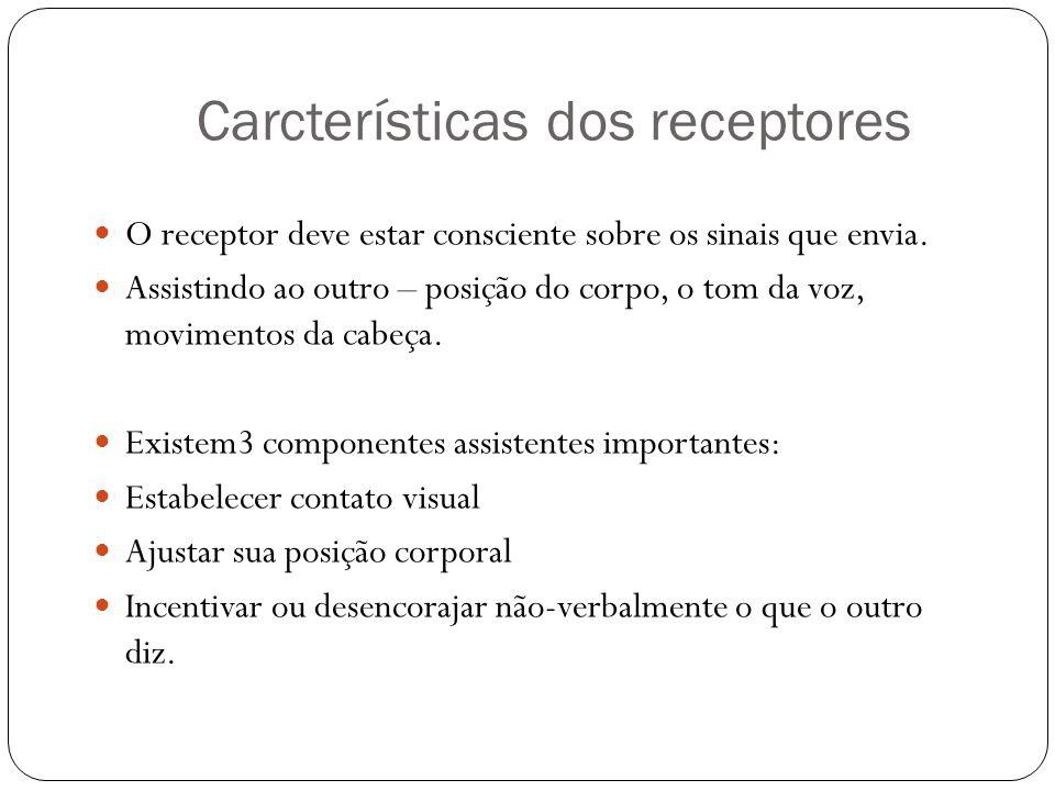 Carcterísticas dos receptores O receptor deve estar consciente sobre os sinais que envia. Assistindo ao outro – posição do corpo, o tom da voz, movime