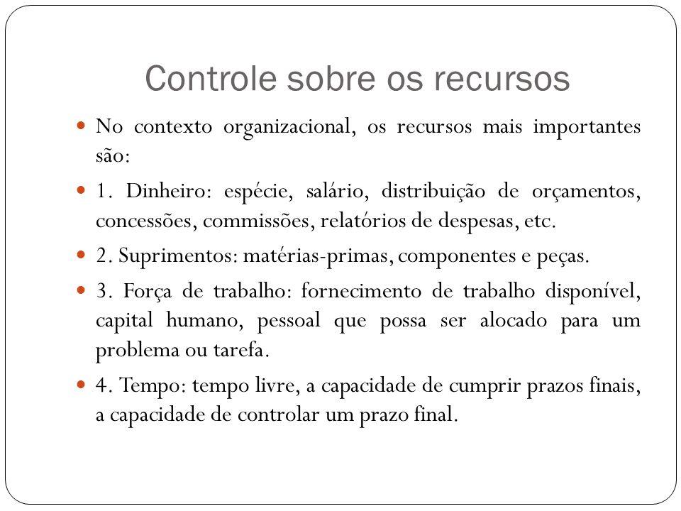 Controle sobre os recursos No contexto organizacional, os recursos mais importantes são: 1. Dinheiro: espécie, salário, distribuição de orçamentos, co