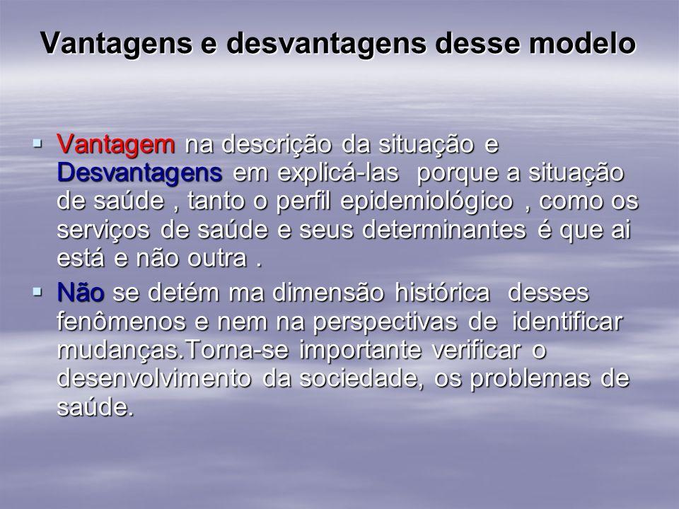 Vantagens e desvantagens desse modelo Vantagem na descrição da situação e Desvantagens em explicá-las porque a situação de saúde, tanto o perfil epide