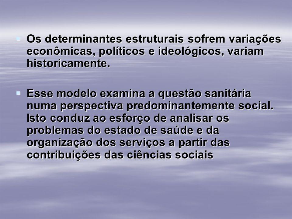 Os determinantes estruturais sofrem variações econômicas, políticos e ideológicos, variam historicamente. Os determinantes estruturais sofrem variaçõe