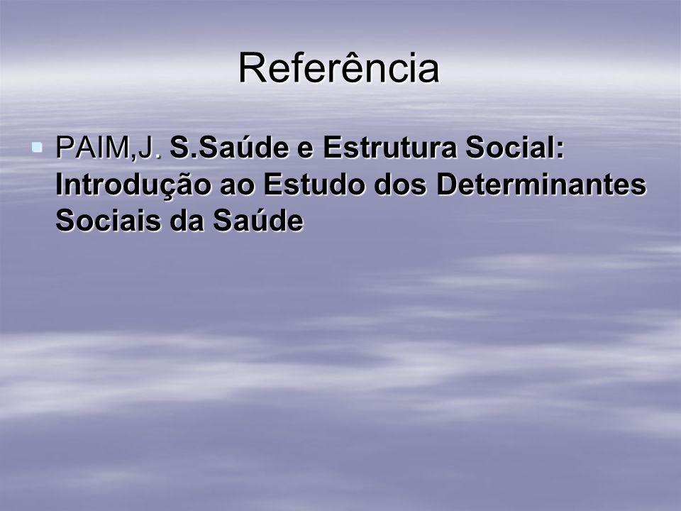 Referência PAIM,J. S.Saúde e Estrutura Social: Introdução ao Estudo dos Determinantes Sociais da Saúde PAIM,J. S.Saúde e Estrutura Social: Introdução