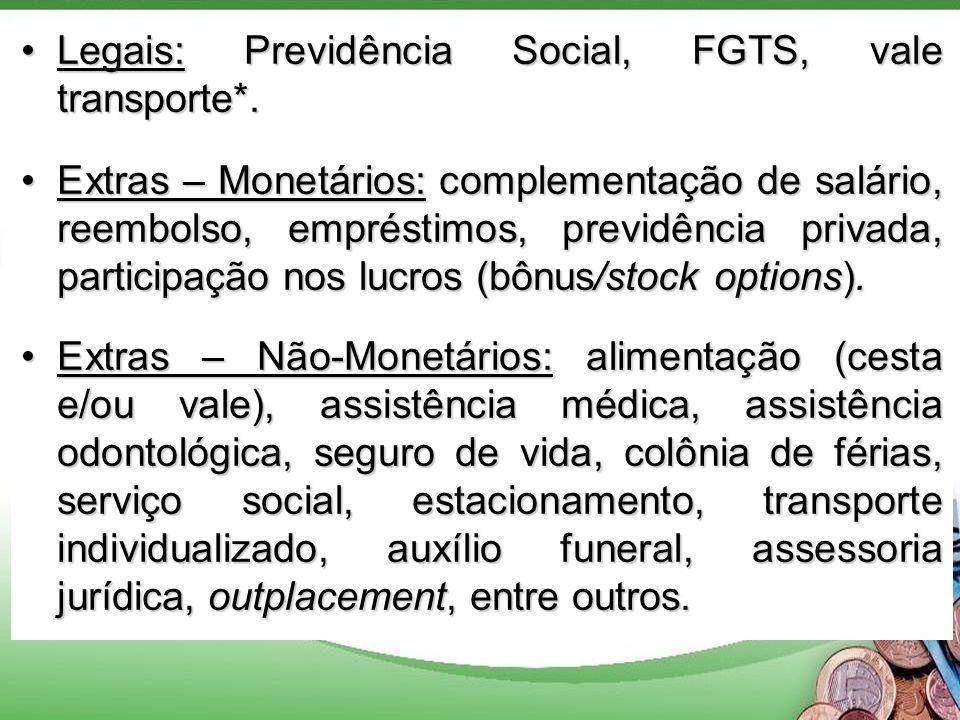 Legais: Previdência Social, FGTS, vale transporte*.Legais: Previdência Social, FGTS, vale transporte*.