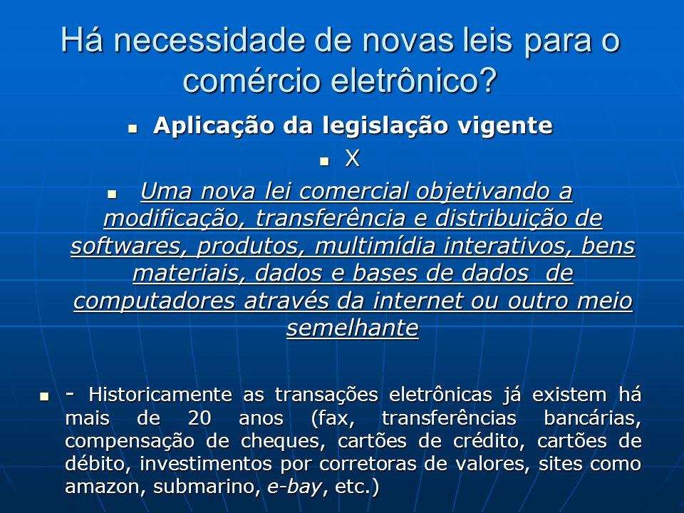Há necessidade de novas leis para o comércio eletrônico? Aplicação da legislação vigente Aplicação da legislação vigente X Uma nova lei comercial obje
