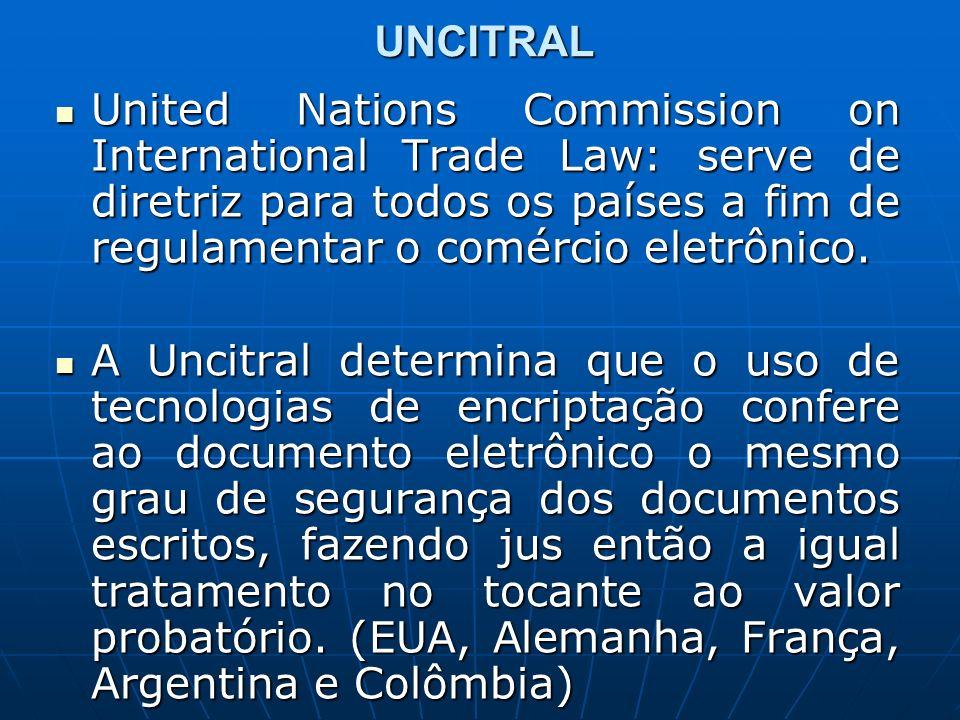 UNCITRAL United Nations Commission on International Trade Law: serve de diretriz para todos os países a fim de regulamentar o comércio eletrônico. Uni
