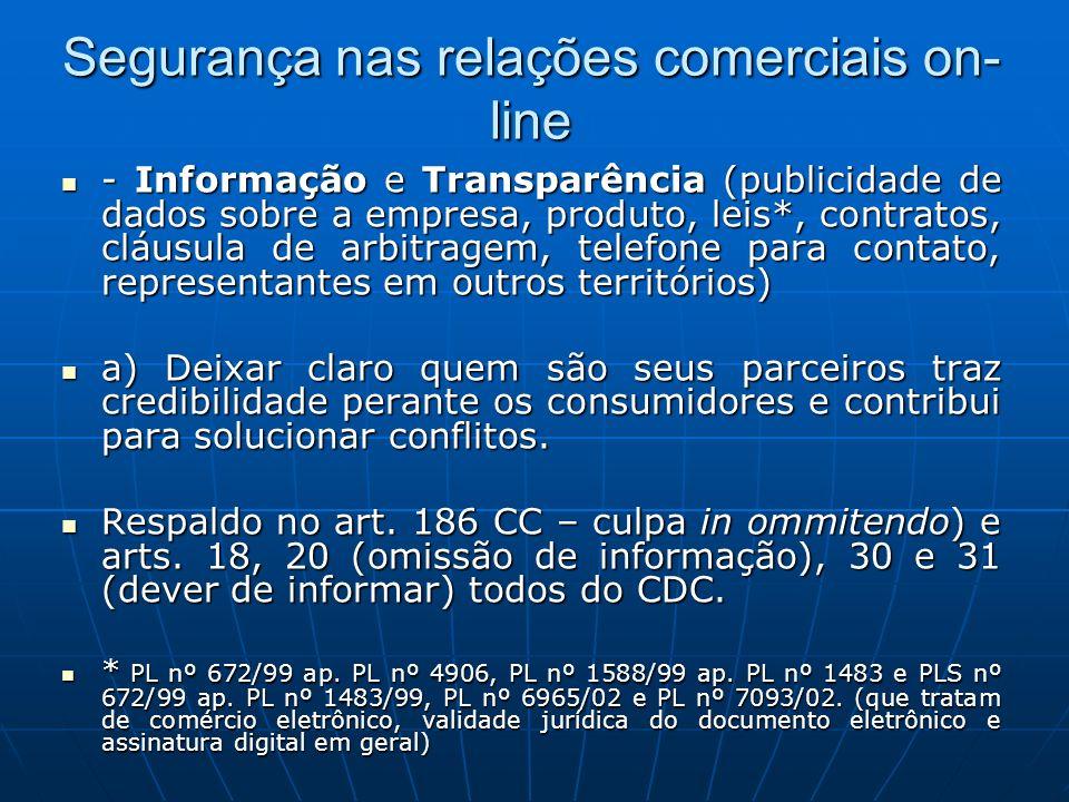 Segurança nas relações comerciais on- line - Informação e Transparência (publicidade de dados sobre a empresa, produto, leis*, contratos, cláusula de