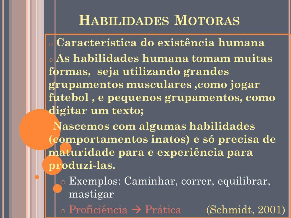 H ABILIDADES M OTORAS o Característica do existência humana o As habilidades humana tomam muitas formas, seja utilizando grandes grupamentos musculare