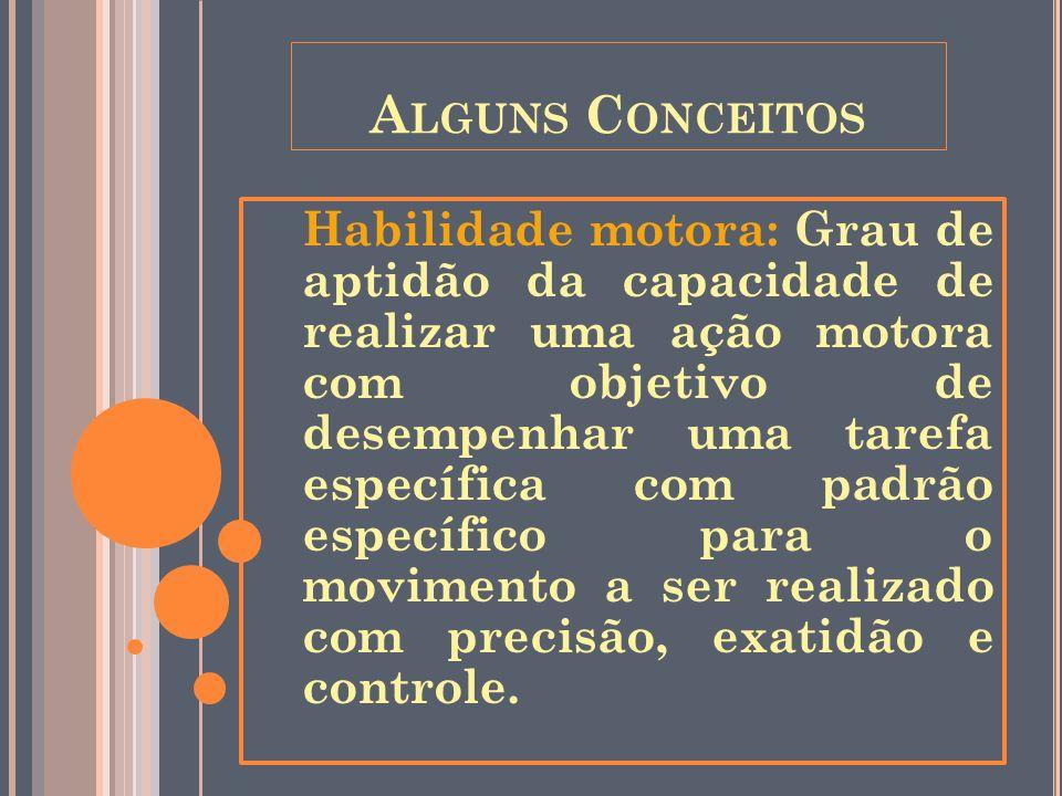 A LGUNS C ONCEITOS Habilidade motora: Grau de aptidão da capacidade de realizar uma ação motora com objetivo de desempenhar uma tarefa específica com