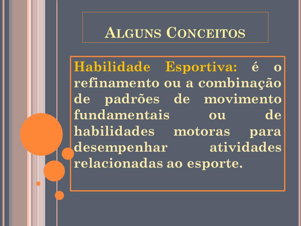 A LGUNS C ONCEITOS Habilidade Esportiva: é o refinamento ou a combinação de padrões de movimento fundamentais ou de habilidades motoras para desempenh
