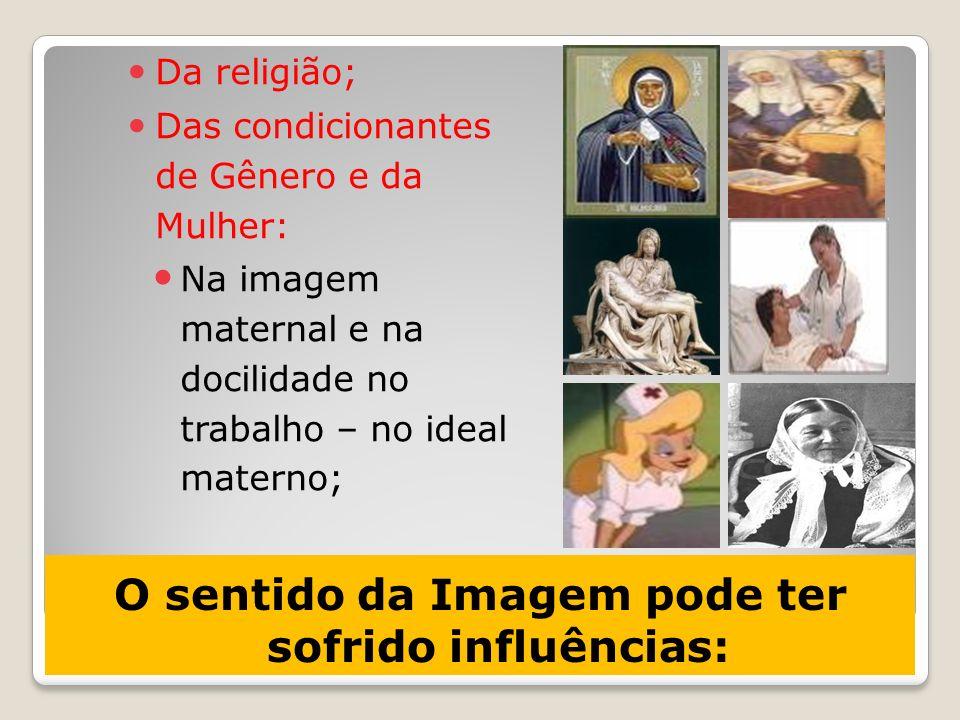 O sentido da Imagem pode ter sofrido influências: Da religião; Das condicionantes de Gênero e da Mulher: Na imagem maternal e na docilidade no trabalh