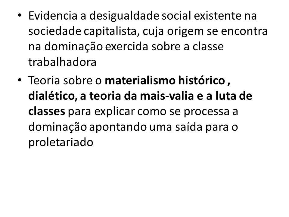 Evidencia a desigualdade social existente na sociedade capitalista, cuja origem se encontra na dominação exercida sobre a classe trabalhadora Teoria sobre o materialismo histórico, dialético, a teoria da mais-valia e a luta de classes para explicar como se processa a dominação apontando uma saída para o proletariado