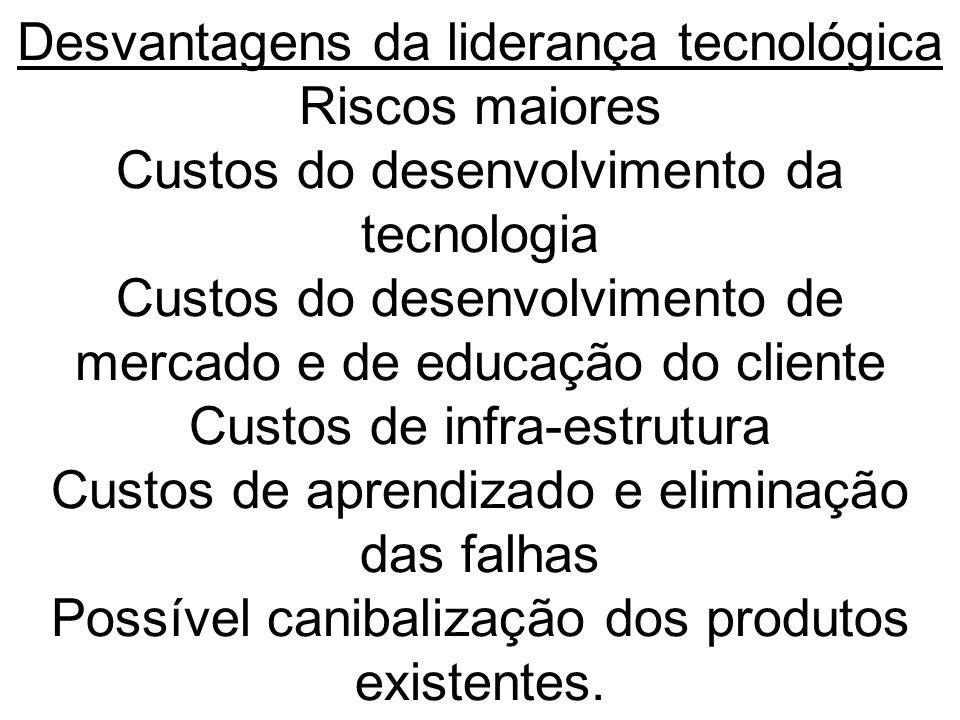 Desvantagens da liderança tecnológica Riscos maiores Custos do desenvolvimento da tecnologia Custos do desenvolvimento de mercado e de educação do cli