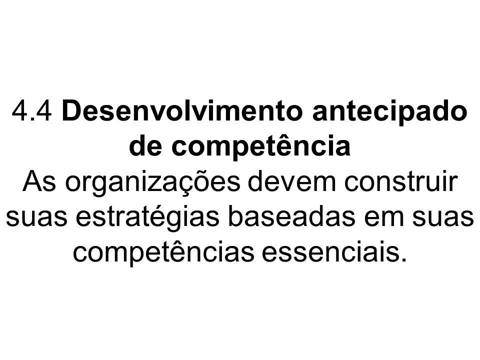 4.4 Desenvolvimento antecipado de competência As organizações devem construir suas estratégias baseadas em suas competências essenciais.