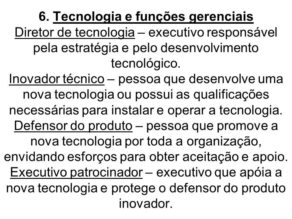 6. Tecnologia e funções gerenciais Diretor de tecnologia – executivo responsável pela estratégia e pelo desenvolvimento tecnológico. Inovador técnico