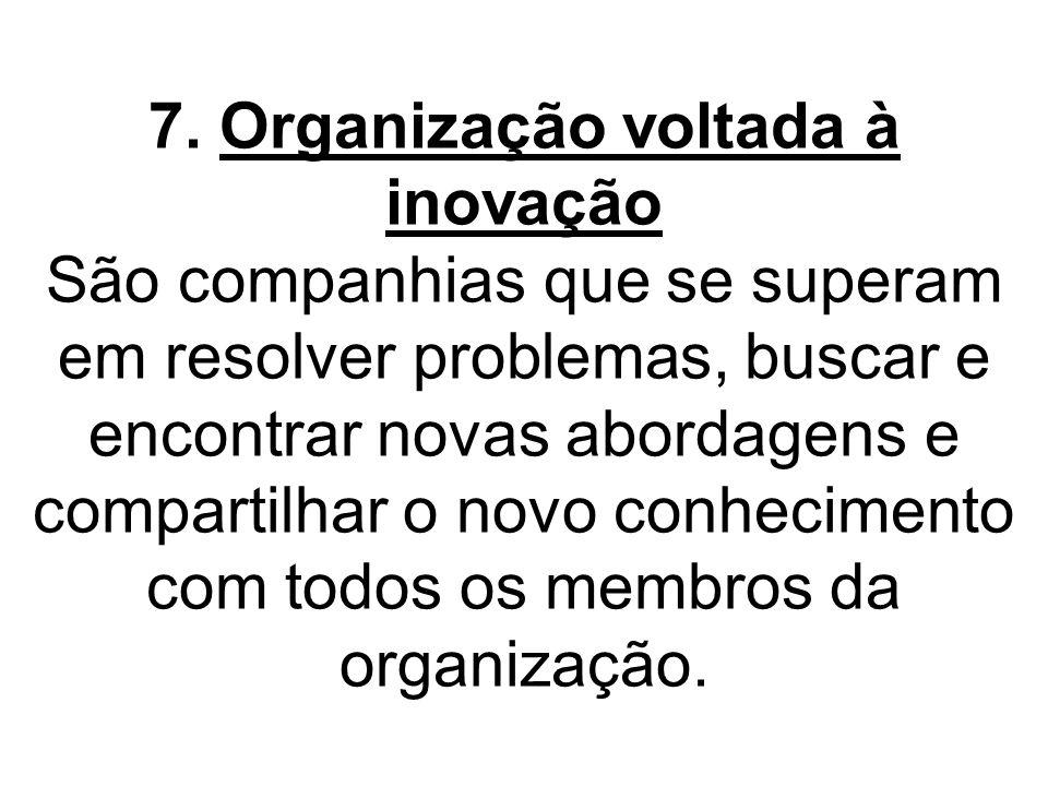 7. Organização voltada à inovação São companhias que se superam em resolver problemas, buscar e encontrar novas abordagens e compartilhar o novo conhe