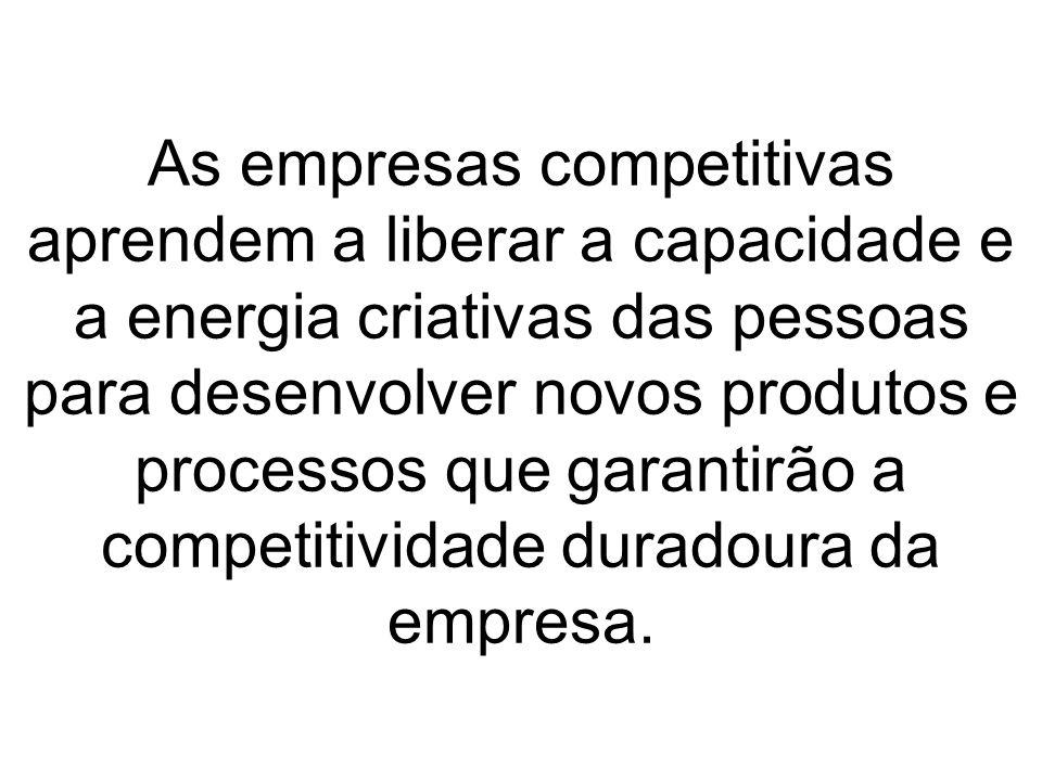 As empresas competitivas aprendem a liberar a capacidade e a energia criativas das pessoas para desenvolver novos produtos e processos que garantirão