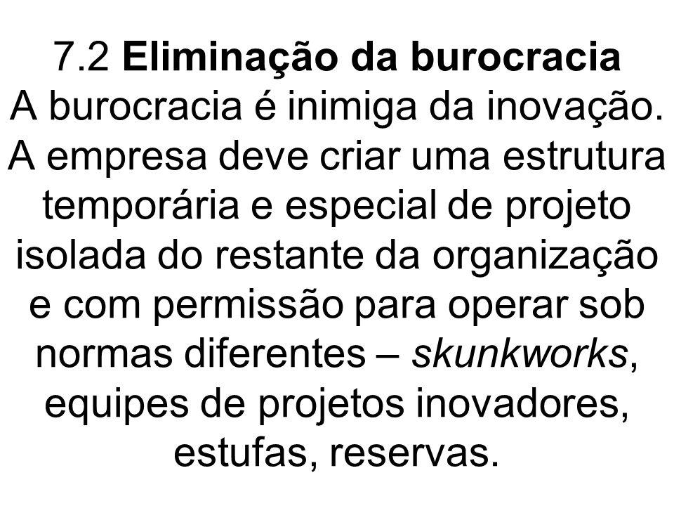 7.2 Eliminação da burocracia A burocracia é inimiga da inovação. A empresa deve criar uma estrutura temporária e especial de projeto isolada do restan
