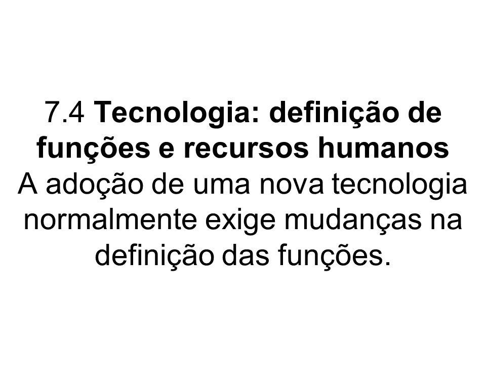 7.4 Tecnologia: definição de funções e recursos humanos A adoção de uma nova tecnologia normalmente exige mudanças na definição das funções.