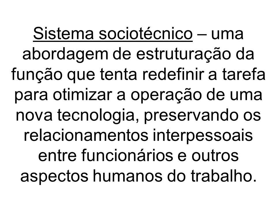 Sistema sociotécnico – uma abordagem de estruturação da função que tenta redefinir a tarefa para otimizar a operação de uma nova tecnologia, preservan