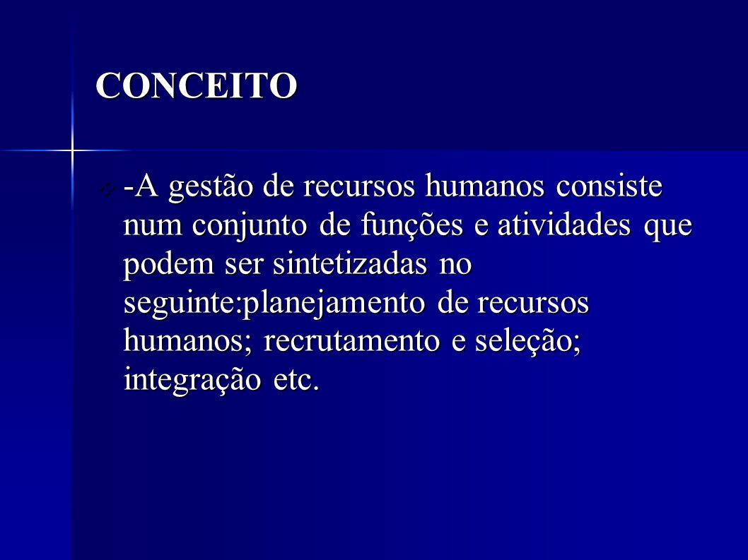 -A gestão de recursos humanos consiste num conjunto de funções e atividades que podem ser sintetizadas no seguinte:planejamento de recursos humanos; recrutamento e seleção; integração etc.
