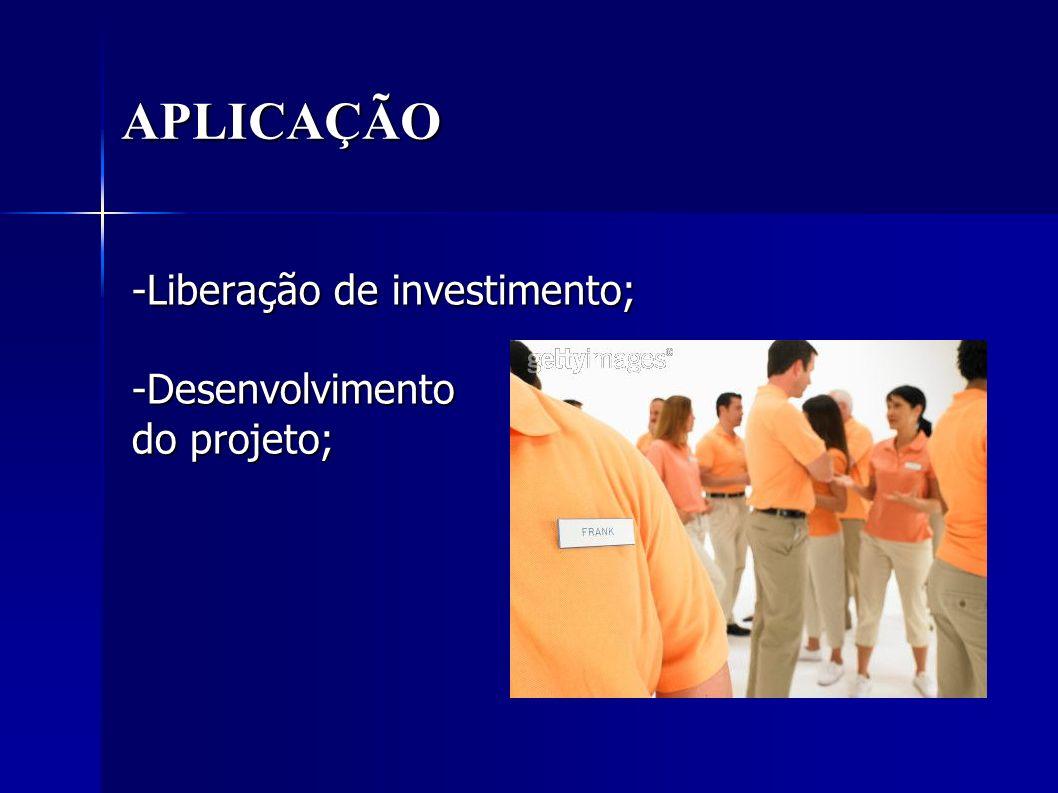 APLICAÇÃO -Liberação de investimento; -Desenvolvimento do projeto;