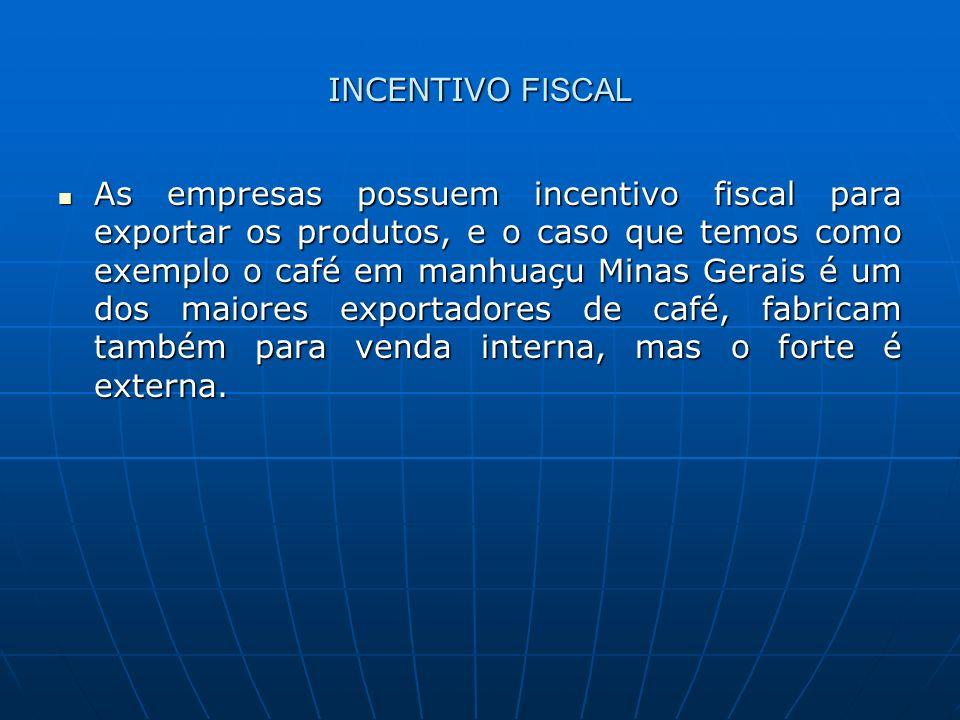 INCENTIVO FISCAL As empresas possuem incentivo fiscal para exportar os produtos, e o caso que temos como exemplo o café em manhuaçu Minas Gerais é um