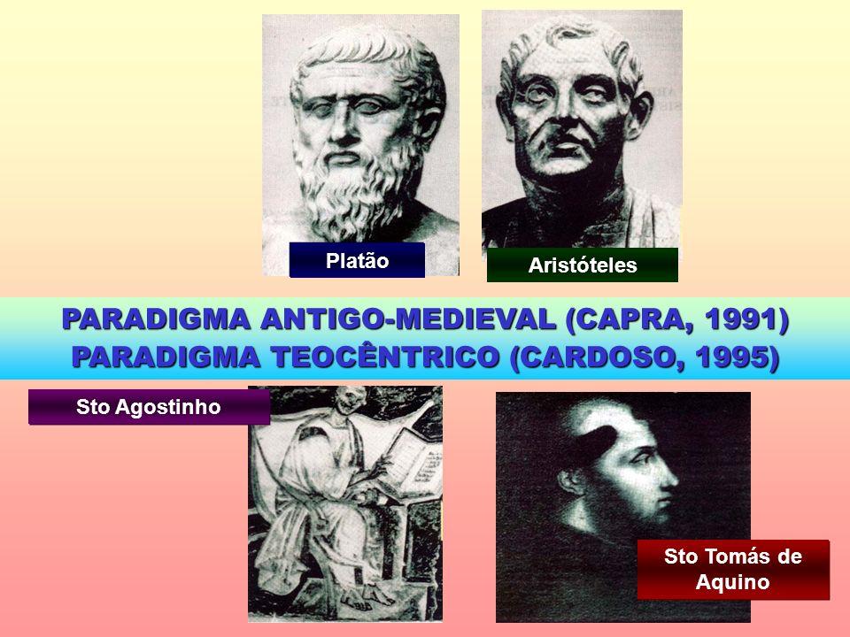 Platão Aristóteles PARADIGMA ANTIGO-MEDIEVAL (CAPRA, 1991) PARADIGMA TEOCÊNTRICO (CARDOSO, 1995) Sto Agostinho Sto Tomás de Aquino
