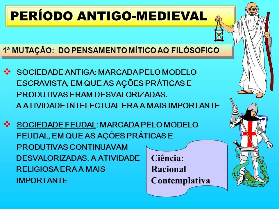 PERÍODO ANTIGO-MEDIEVAL SOCIEDADE ANTIGA: MARCADA PELO MODELO ESCRAVISTA, EM QUE AS AÇÕES PRÁTICAS E PRODUTIVAS ERAM DESVALORIZADAS. A ATIVIDADE INTEL