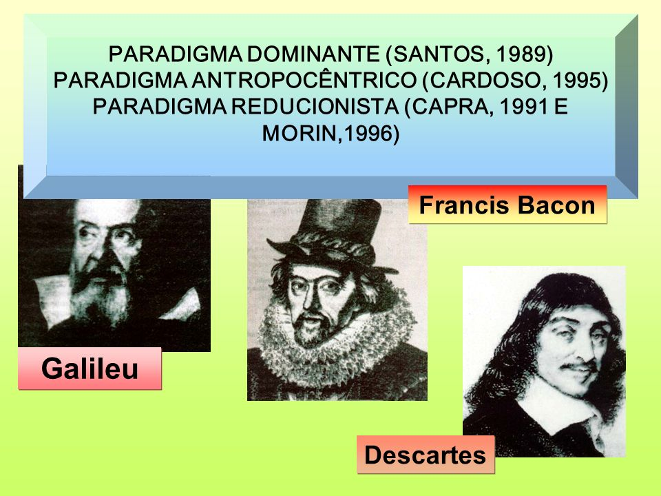 PARADIGMA DOMINANTE (SANTOS, 1989) PARADIGMA ANTROPOCÊNTRICO (CARDOSO, 1995) PARADIGMA REDUCIONISTA (CAPRA, 1991 E MORIN,1996) Galileu Francis Bacon D