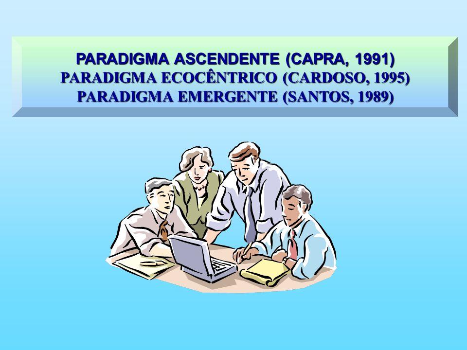 PARADIGMA ASCENDENTE (CAPRA, 1991) PARADIGMA ECOCÊNTRICO (CARDOSO, 1995) PARADIGMA EMERGENTE (SANTOS, 1989)