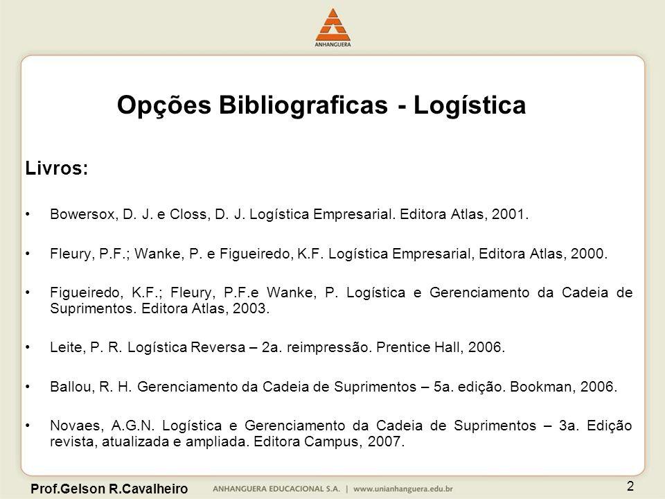 Prof.Gelson R.Cavalheiro 2 Opções Bibliograficas - Logística Livros: Bowersox, D. J. e Closs, D. J. Logística Empresarial. Editora Atlas, 2001. Fleury