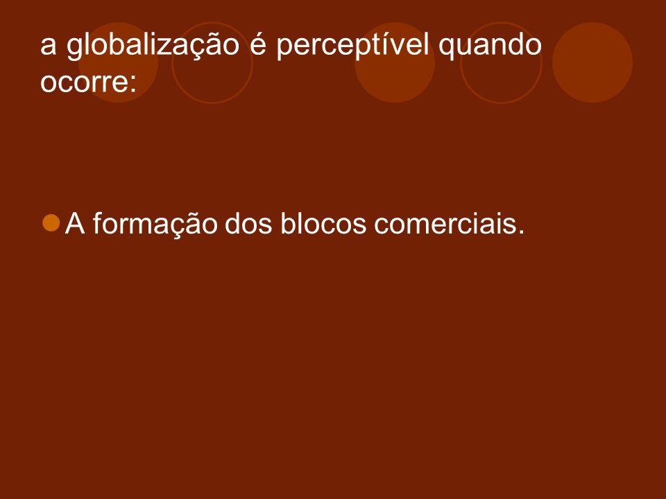 a globalização é perceptível quando ocorre: A formação dos blocos comerciais.