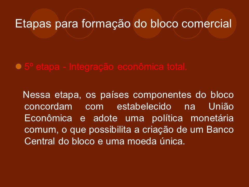 Etapas para formação do bloco comercial 5º etapa - Integração econômica total. Nessa etapa, os países componentes do bloco concordam com estabelecido