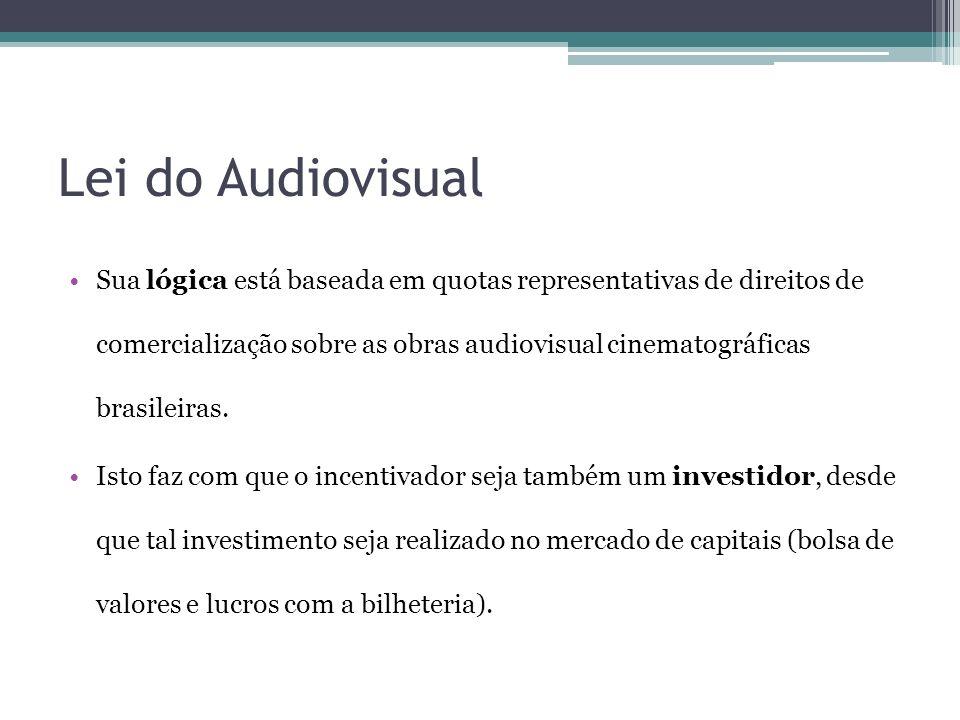 Lei do Audiovisual Sua lógica está baseada em quotas representativas de direitos de comercialização sobre as obras audiovisual cinematográficas brasil