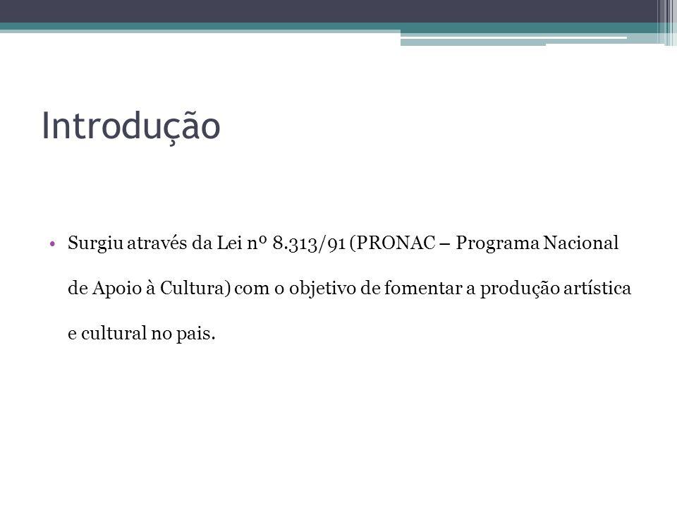 Introdução Surgiu através da Lei nº 8.313/91 (PRONAC – Programa Nacional de Apoio à Cultura) com o objetivo de fomentar a produção artística e cultura