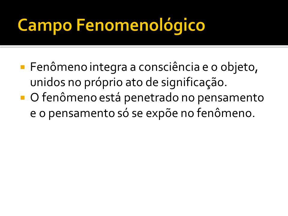 Fenômeno integra a consciência e o objeto, unidos no próprio ato de significação. O fenômeno está penetrado no pensamento e o pensamento só se expõe n