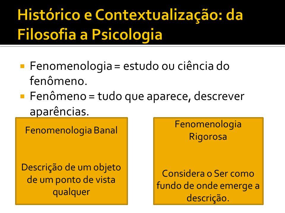 Fenomenologia = estudo ou ciência do fenômeno. Fenômeno = tudo que aparece, descrever aparências. Fenomenologia Banal Descrição de um objeto de um pon