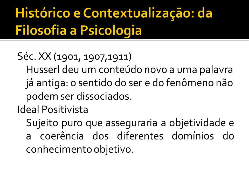 Séc. XX (1901, 1907,1911) Husserl deu um conteúdo novo a uma palavra já antiga: o sentido do ser e do fenômeno não podem ser dissociados. Ideal Positi
