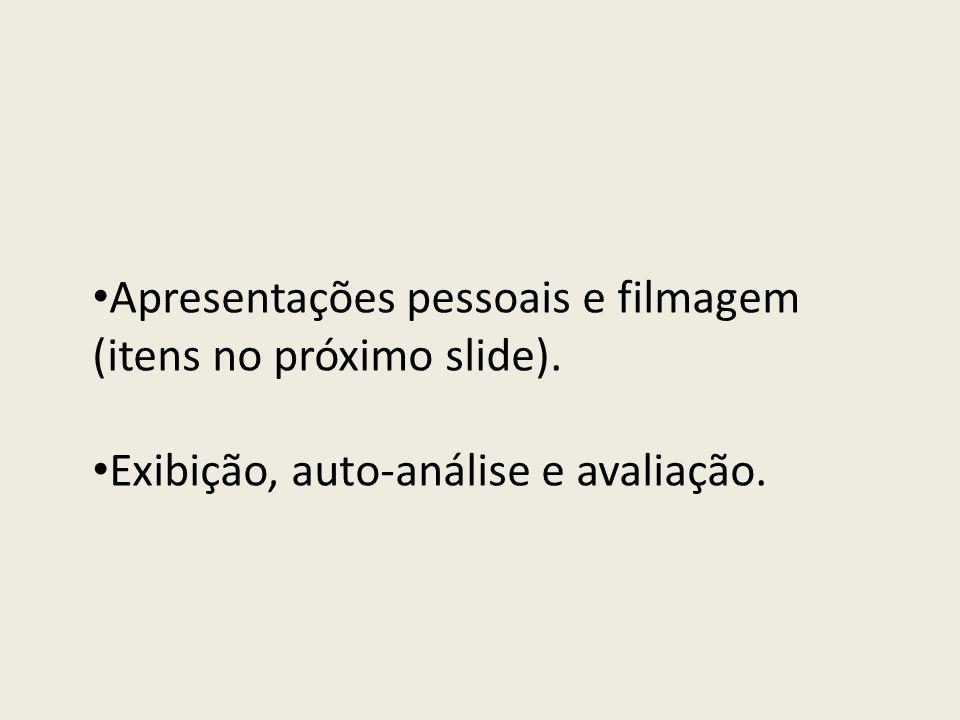 Apresentações pessoais e filmagem (itens no próximo slide). Exibição, auto-análise e avaliação.