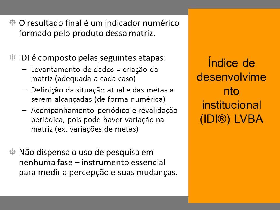 O resultado final é um indicador numérico formado pelo produto dessa matriz. IDI é composto pelas seguintes etapas: –Levantamento de dados = criação d
