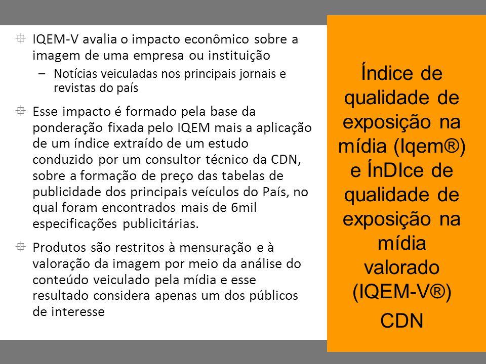 IQEM-V avalia o impacto econômico sobre a imagem de uma empresa ou instituição –Notícias veiculadas nos principais jornais e revistas do país Esse imp